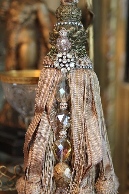 DIY tassels - Romancing the Home using beads and old buttons. Use as curtain tiebacks, Christmas tree decor, etc