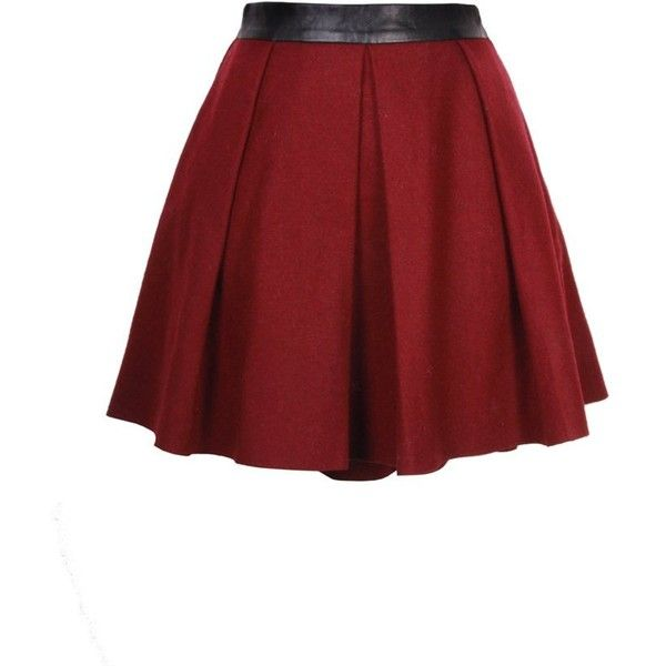 Goldie London Oxblood Wool and Leather Skater Skirt (£50) ❤ liked on Polyvore featuring skirts, bottoms, saias, faldas, wool skirt, leather skater skirt, red skirt, leather skirts and red circle skirt