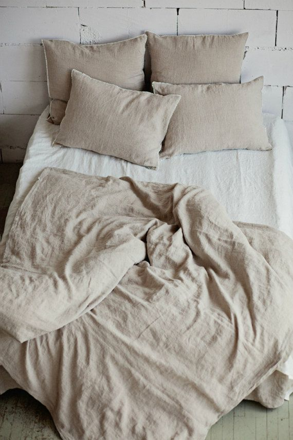 Linen Duvet Cover In Natural Linen Oatmeal Color Custom