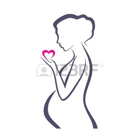 ilustracion figura femenina abstracta: símbolo de la mujer embarazada, dibujo vectorial estilizada