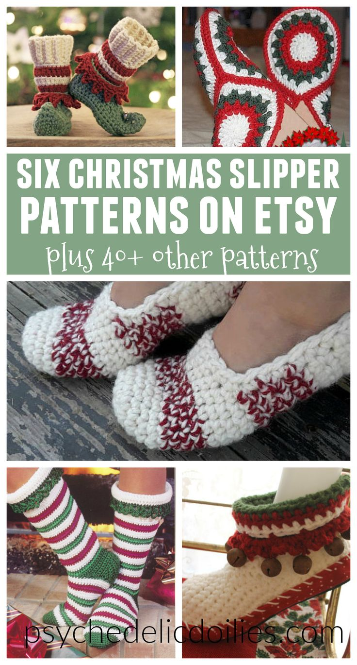 263 best crochet knit slipper images on pinterest crochet 50 christmas crochet patterns on etsy for under 5 bankloansurffo Image collections