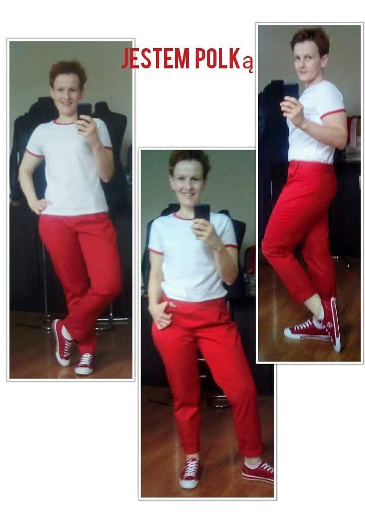 Spodnie I T Shirt Bialo Czerwone Pantsuit Capri Pants Pants