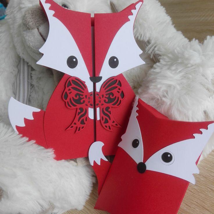 7 Faire-parts de baptême Renard - Rouge + 7 boîtes à dragées assorties : Faire-part par la-petite-carterie-foxy