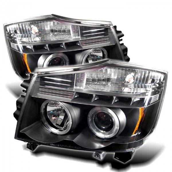 Spyder Auto PRO-YD-NTI04-HL-BK | 2005 Nissan Titan Black LED Halo Projector Headlights for SUV/Truck/Crossover