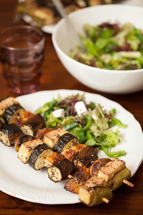 Greek Vegetarian: Tofu and Cypriot Halloumi Souvlaki with Lemon and Oregano Marinade #halloumi #recipes #food #savory #eat #cook #grill #bake #kitchen #make #yummy #enjoy #family #light #dinner #lunch #yourhomemagazine