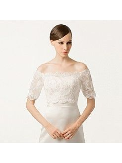 Bateau Neck Allover Lace Wedding Jacket with Scalloped Hem - USD $65.98