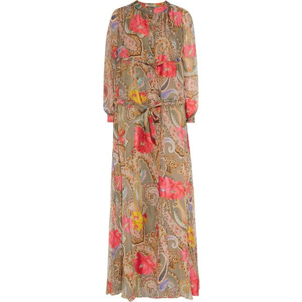 Etro - Ruched Printed Silk-chiffon Maxi Dress (£960) ❤ liked on Polyvore featuring dresses, multi, print maxi dress, rainbow maxi dress, multi color maxi dress, bohemian maxi dresses and ruched dress