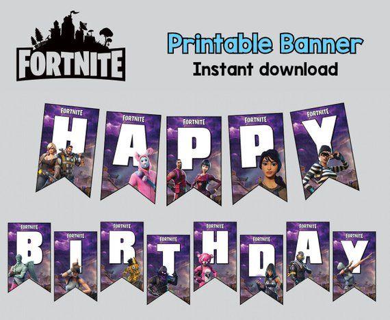 Fortnite Banner Happy Biryhday Printable Digital File Instant Download Birthday Printables Happy Birthday Printable Party Favors For Kids Birthday