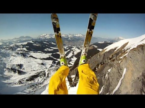 CRAZY CLIFF JUMP!!!!!!!!!    Skiiers Matthias Giraud and Stefan Laude try to outrun a massive avalanche in the French Alps.  The only problem?  Their escape route.