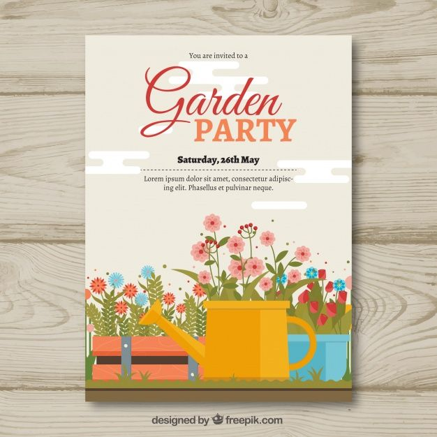Garden party invitation template with watering can and flowers #Free #Vector #illustration