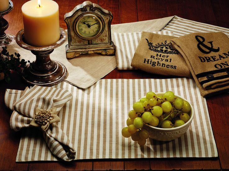 Striped Placemats Set of 2 Market Street IHF Au Natural Beige Ivory Neutral #MarketStreet