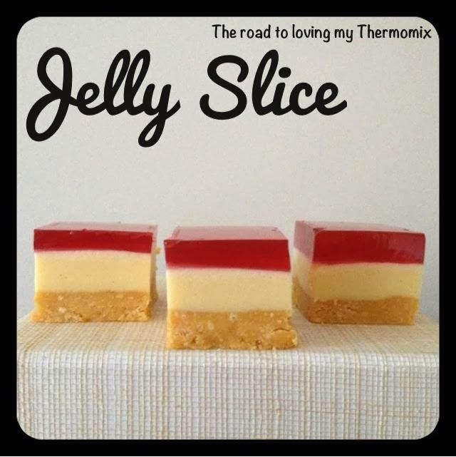 I posted my Jelly Cheesecake a few weeks back which was a huge hit. Here is a Jelly Slice recipe that is similar but doesn't contain cream cheese in