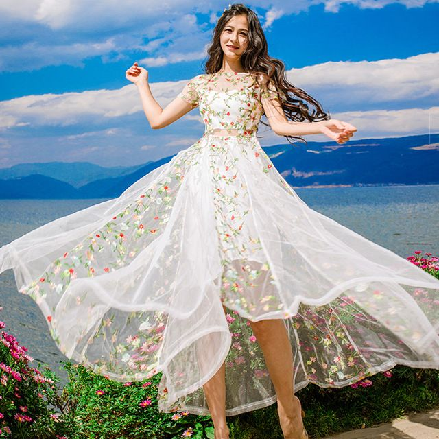 Вышивка Цветок Fairy Женский Сетки Кружева Dress прозрачная Коротким Рукавом Летом Dress Женщина Солнце Пляж Long Dress