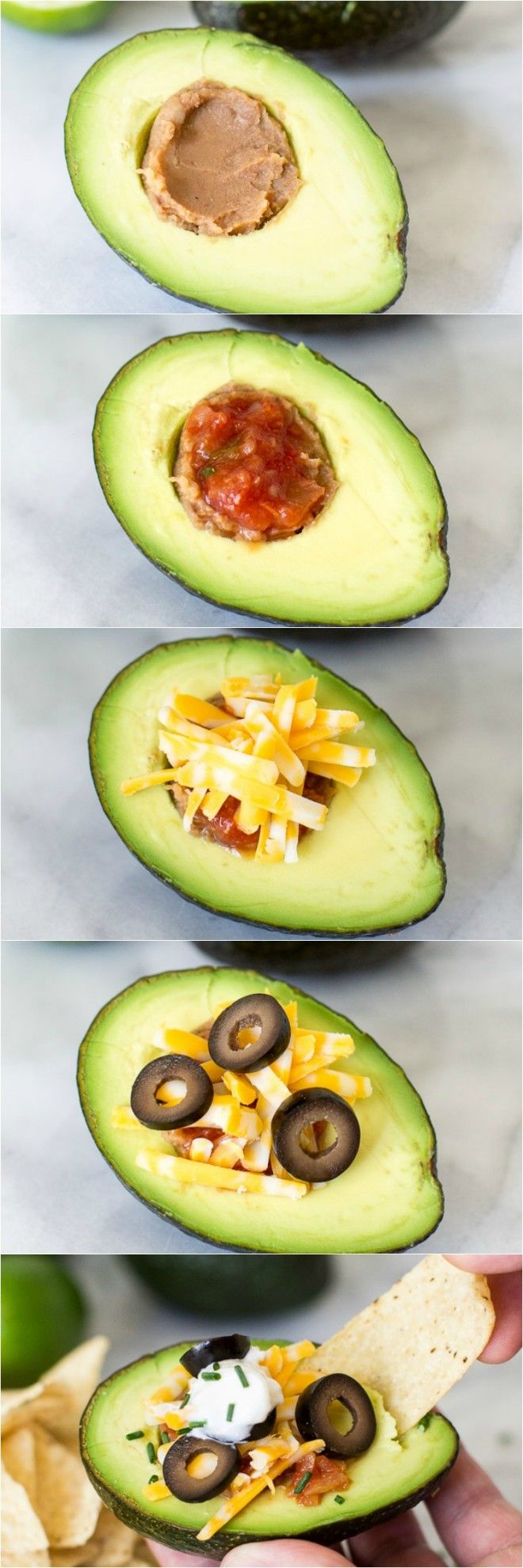 Avocado halves are the tastiest way to serve 7 Layer Dip. Just slice, stuff, and…