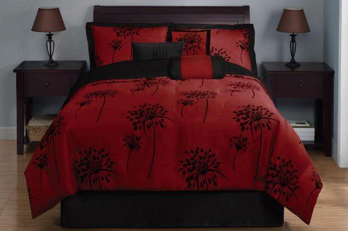 7 Piece King Dandelion Black And Burgundy Comforter Set