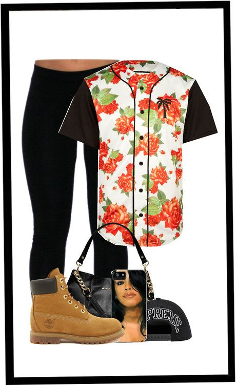 Untitled #127 by trill-babymarieeeee featuring a navy hat ❤ liked on PolyvoreBlack pants, $64 / Timberland flat lace up ankle booties, $270 / MICHAEL Michael Kors black leather handbag / Tech accessory / Navy hat / BLVD SUPPLY Passion Baseball Jersey