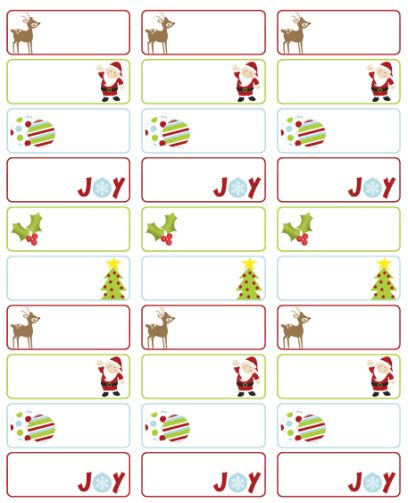christmas return address labels template