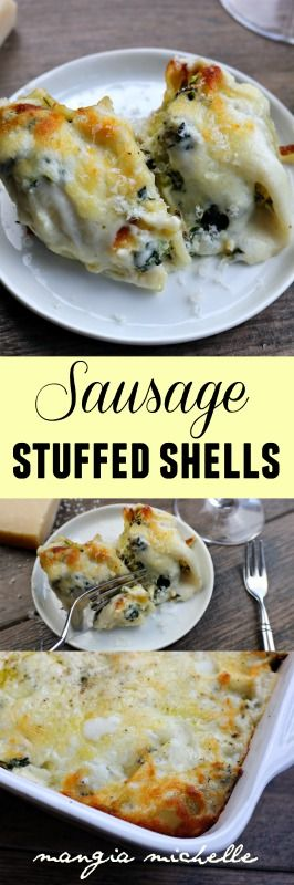 Sausage stuffed shells are a creamy and decadent meal that will satisfy every palate ~ www.mangiamichelle.com