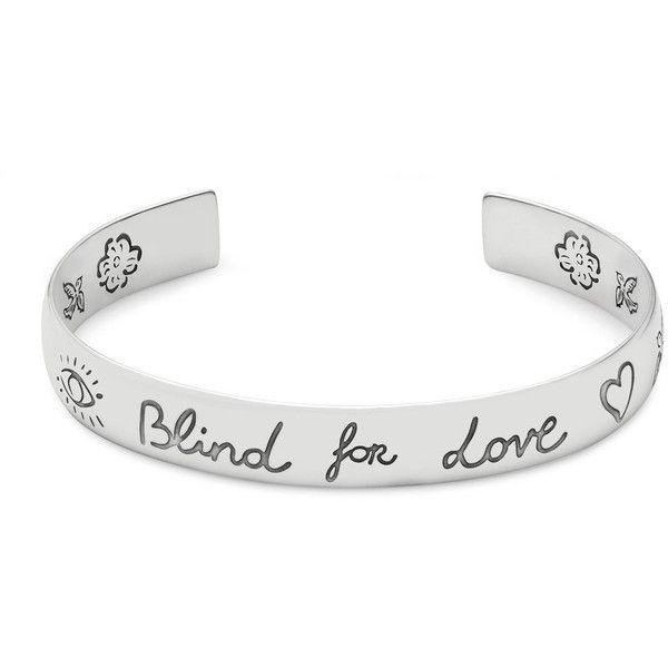 GUCCI 'Blind For Love' Silver Bracelet (481295 IQD) ❤ liked on Polyvore featuring men's fashion, men's jewelry, men's bracelets and mens silver bracelets
