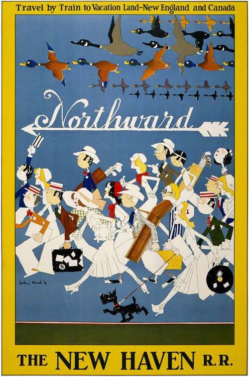 Northward. Travel by train to vacation land – New England and Canada. The New Haven R.R. This vintage travel poster depicts a crowd of travelers and a flock of geese heading north. Vintage travel poster illustrated by John Held Jr., circa 1925