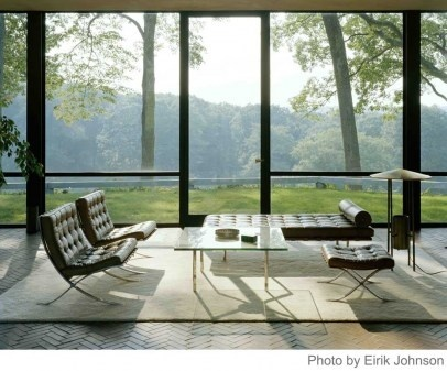 Philip Johnson Glass Hous: Living Rooms, Window, The View, Philip Johnson, Modern Architecture, House Interiors, Modern Interiors, Barcelona Chairs, Glasses House