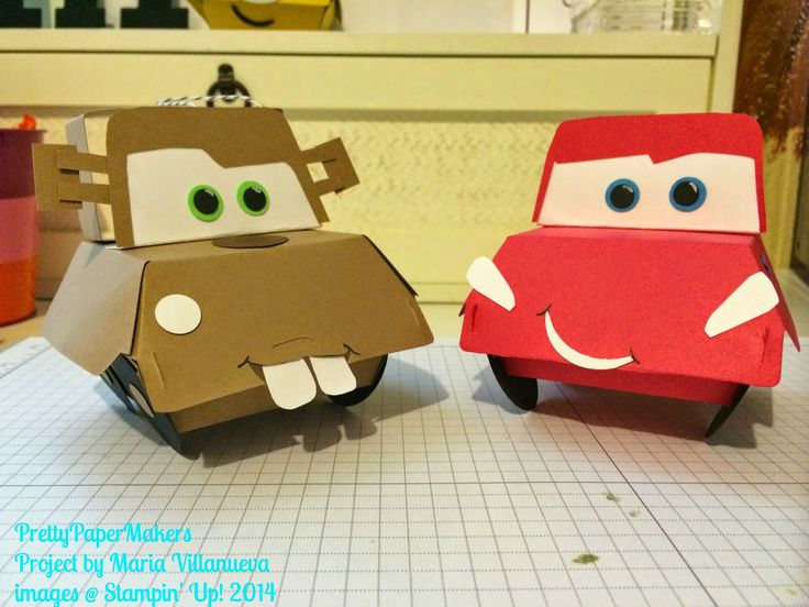 PrettyPaperMakers: Fun with Dies! Mater and McQueen favors using Hamburger Box Die.