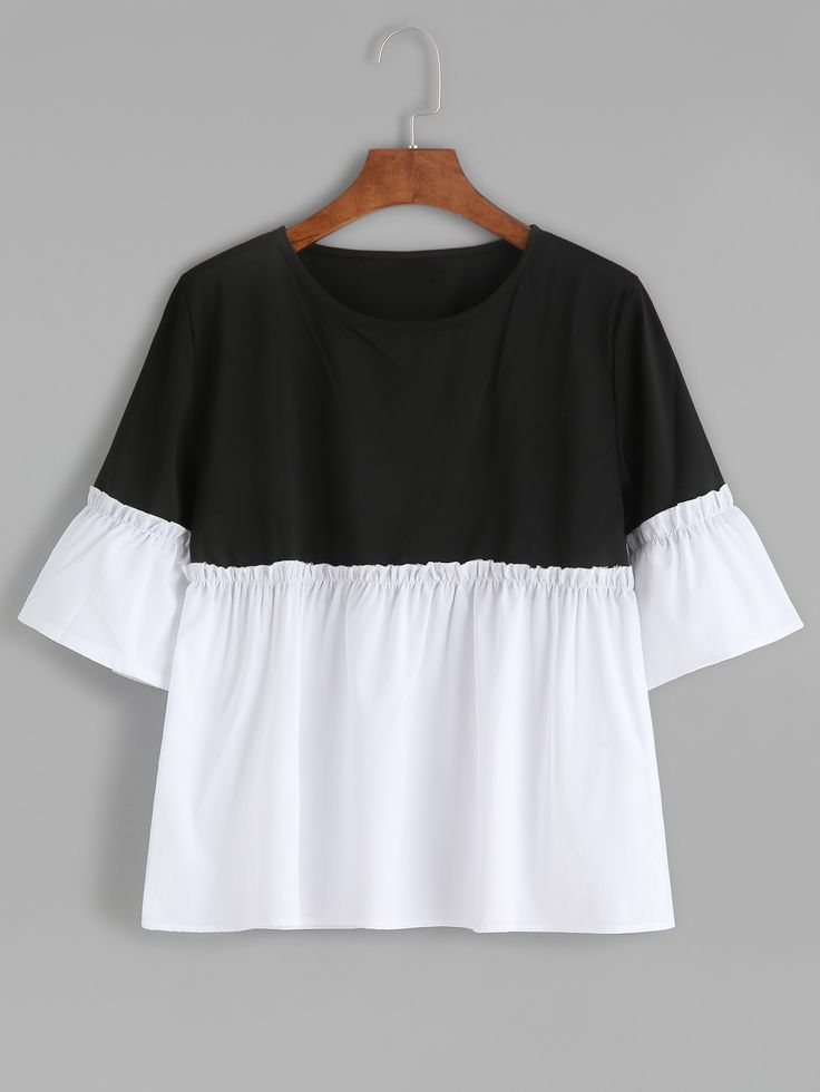 9$ Watch now - http://dil2j.justgood.pw/go.php?t=5836 - Color Block Bell Sleeve Ruffle Hem Blouse
