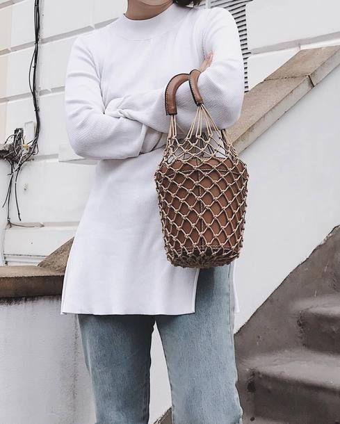 85532526b Staud Moreau Macramé And Leather Bucket Bag Teamed With White Neoprene  Tunic Top And Light Wash Vintage Denim Pants