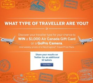 Dukoral Canada has a cute contest running on their Facebook page at the moment where you can figure out what sort of traveler you are for a chance to win$1,000 Air Canada gift card or a Go Pro Camera.