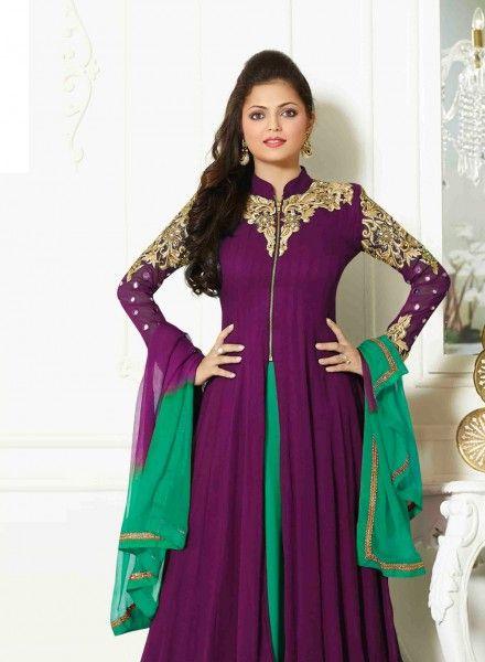 1ab3c3396bce Violet pakistani fashion party wear plazzo kameez suit E15537 ...