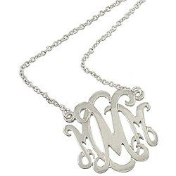 Silvertone M Monogram Initial Pendant Necklace Fashion Jewelry