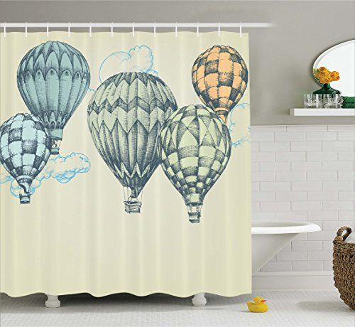 Ambesonne Vintage, Hot Air Balloons In Soft Tone Fly In Sky Lighter Than Air  High Tourism Artful Shower Curtain Set Size: