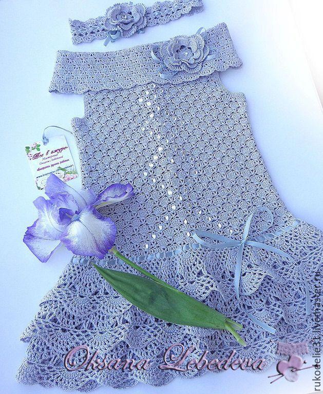 Купить Платье летнее вязаное крючком из хлопка для девочки Дымчатая роза - серый, детское платье