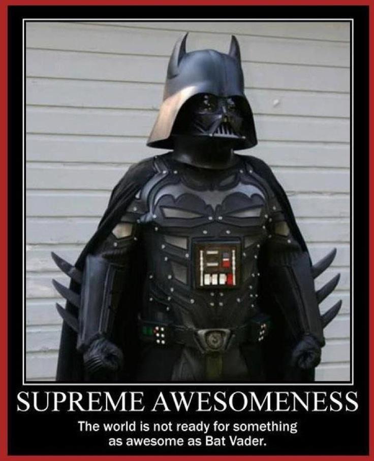 Bat Vader? Or the Darth Knight?Geek, Batman Funny, Bats Vader, Knights, Star Wars, Stars Wars, Bows, Supreme Awesome, Starwars