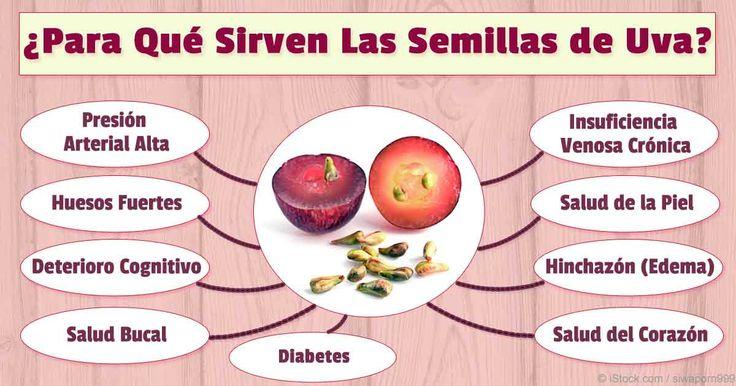 Las semillas de uva y el extracto de semillas de uva son ricos en antioxidantes poderosos y compuestos naturales.  http://articulos.mercola.com/sitios/articulos/archivo/2016/01/18/beneficios-de-las-uvas.aspx