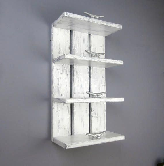 4 tier white wood above toilet shelves are perfect for your rolled towels! Th  – Beach Bathroom
