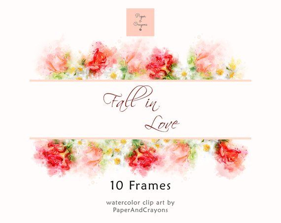 Fall in Love – Watercolor Frames and Wreaths Set, Floral Clipart, Flower Borders, Digital Photo Fram
