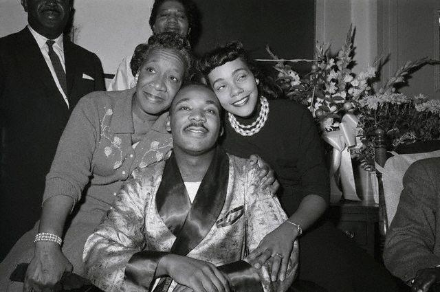 Martin Luther King Jr. with his mother, Alberta Williams King & wife, Coretta Scott King.