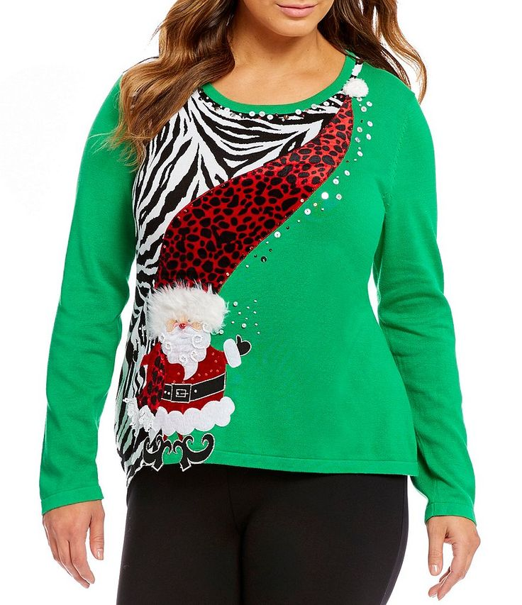 Love this bright green Santa plus size Christmas sweater!
