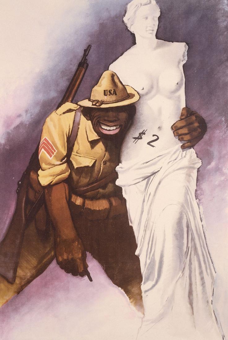 Itlian - Anti-American propaganda from Italy, #WW2 - soldier is black, wide, can't stand upright, looks like a monkey, selling the Venus de Milo.