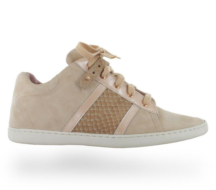 Sneaker Love Mix material Camel chic and white shell by Repetto -  Collection spring-summer