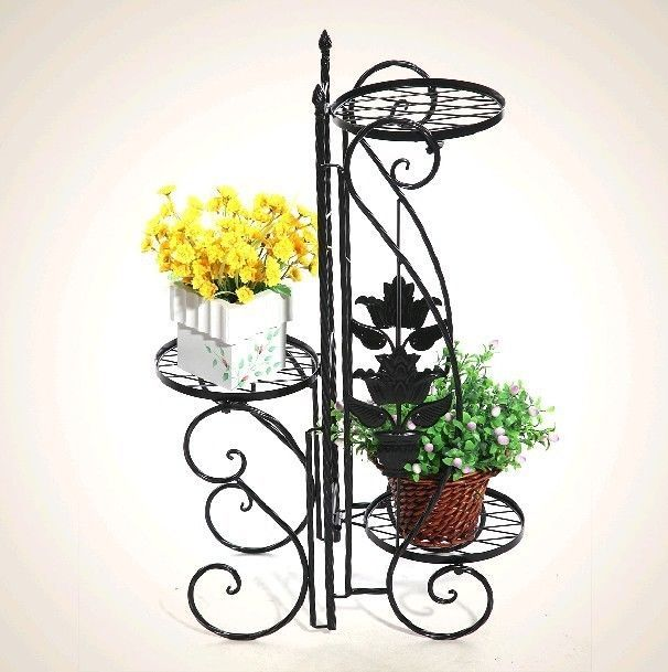 vintage metal plant stands flower pot display stand shelf. Black Bedroom Furniture Sets. Home Design Ideas