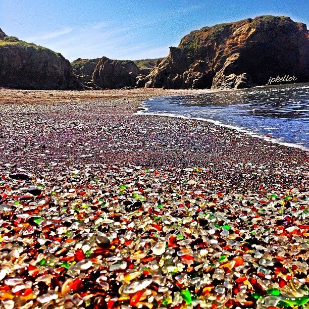 "Glass Beach  ""When driving north on Hwy. 1, turn left on Elm St. Drive down till you see the parking area facing the sea. Walk on the path, which runs parallel with a chain link fence. When you reach the end of the fence [almost at the edge of a cliff] be sure and turn left [south] and follow the path down to the beach""."