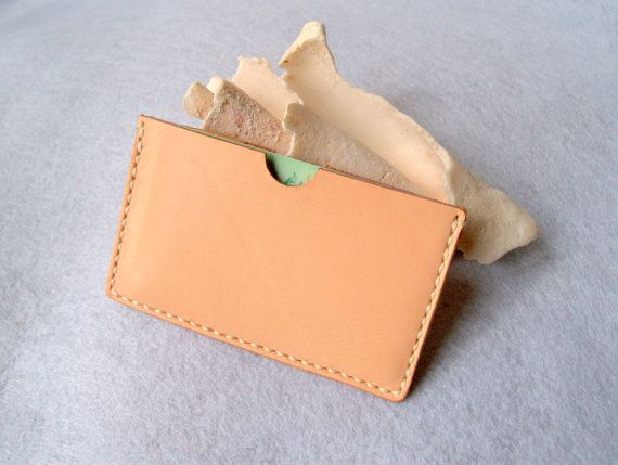 Slim Vegetable Tanned Leather Wallet Leather by CarmensLeather