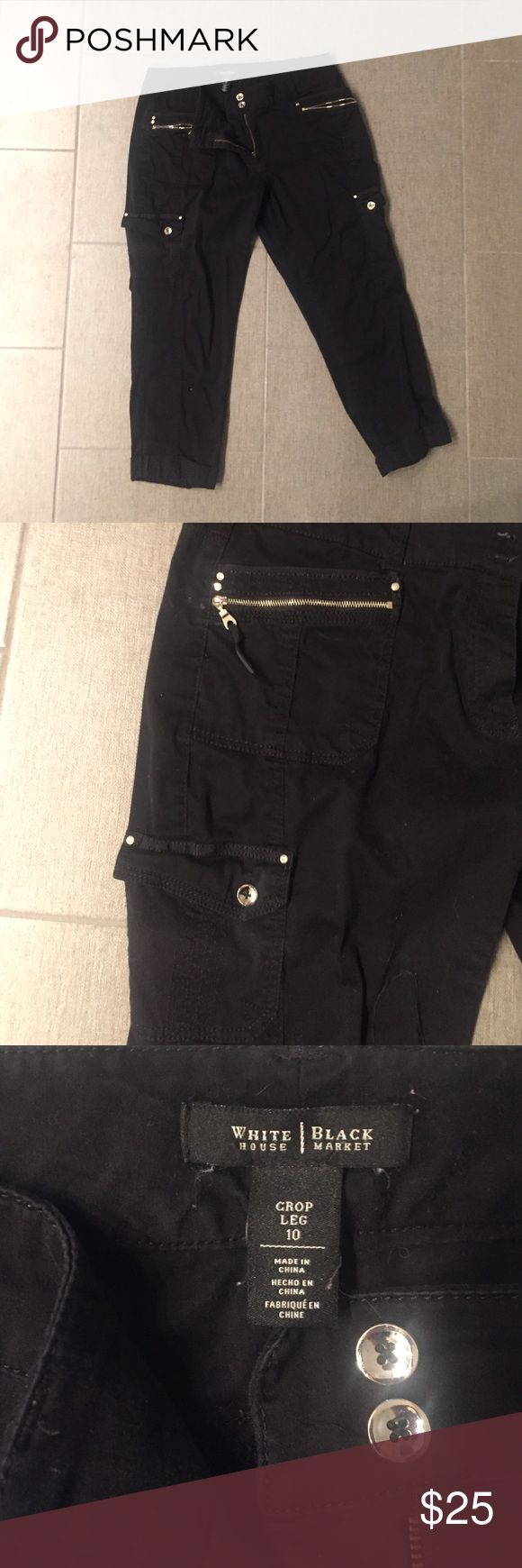 White House Black Market Cropped Pants Gently worn black cropped pants with silver buttons and zipper pockets from White House Black Market. Size 10 White House Black Market Pants Ankle & Cropped