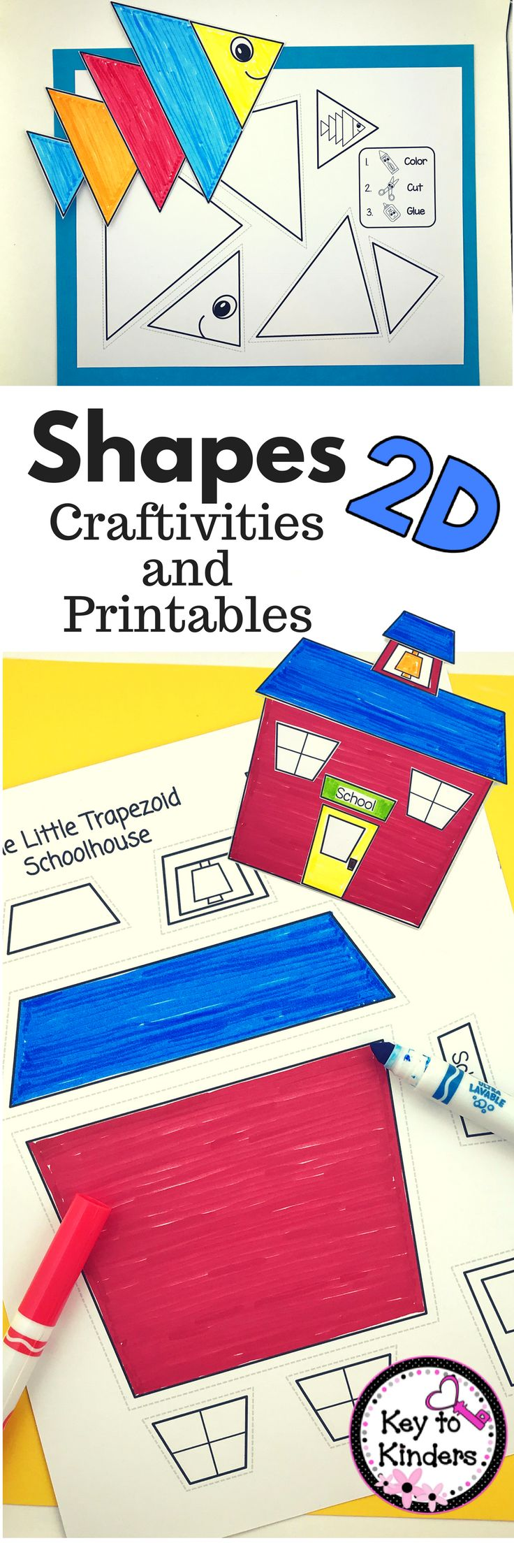 This 2D Shapes unit uses NO PREP crafts and meaningful printables to reinforce shapes for Preschool, Kindergarten or First Grade students. Grab it now!