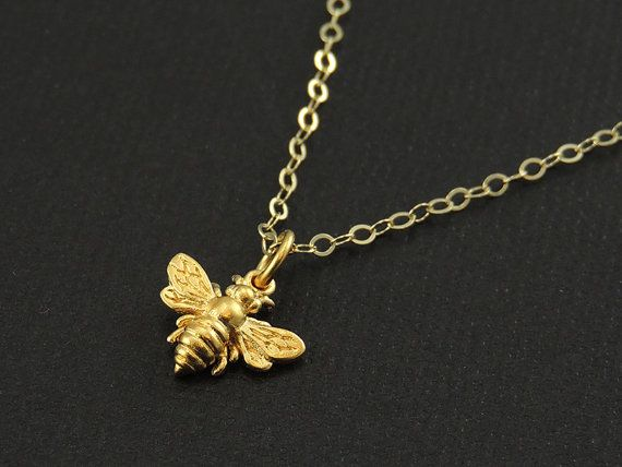 Little Gold Bee Necklace Gold Bee Charm Honeybee 14k Gold Etsy Bee Necklace Gold Bee Bee Charms
