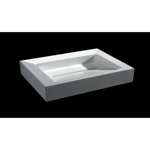 Best Design Solid look wastafel 60x46x13cm voor opbouw en wandmontage 0 kraangaten mat wit - 3880110 - Sanitairwinkel.be