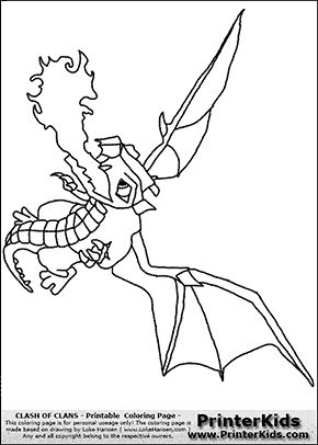 Clash Of Clans - Dragon #2 - Coloring Page