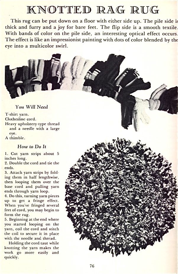 Rag Rug Tutorial Rugs from Recycled T-Shirts | The Chawed  Rosin        http://chawedrosin.wordpress.com/2008/06/23/rugs-from-recycled-t-shirts/